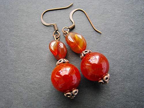 Agate Earrings for Women Semi Precious Jewelry Natural Gemstone Drop Round Beaded Dangle ()