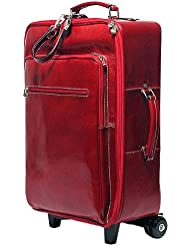 Floto Luggage Venezia Gusset Zip Trolley Wheeled Duffle, Tuscan Red, Large