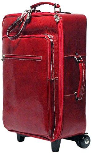 Floto Luggage Venezia Gusset Zip Trolley Wheeled Duffle, Tuscan Red, Large