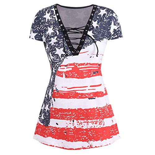 Orangeskycn Women Plus Size V-Neck T-Shirt American Flag Printed Cross Straps Stitching Casual Loose Shirt Tunic Red