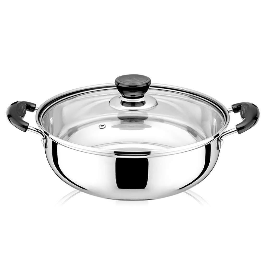 Diamètre F  28CM WEIFAN CAI- Cuisinière binaurale en Acier Inoxydable avec marmite à Soupe dans Une Casserole Cuisinière à Induction et cuisinière à gaz Universelle (28cm)