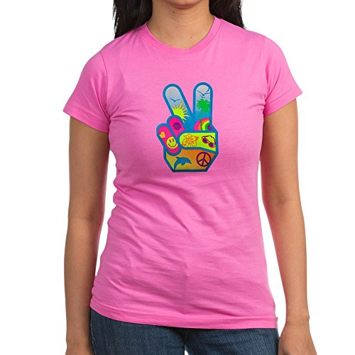 (Royal Lion Junior Jr. Jersey T-Shirt (Dark) Peace Sign Symbol Dolphin Smiley Face - Raspberry, XL)