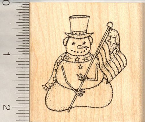 Medium Patriotic American Snowman Rubber Stamp, With Flag (Handle Wood Snowman)