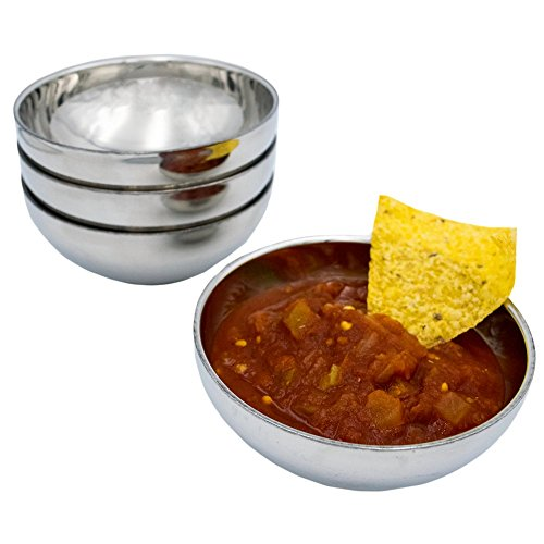 TukTek Kitchen Salsa Bowl Set of 4 Serving Dishes for Chips Dip & Snacks Made of Stainless Steel 8oz (4)