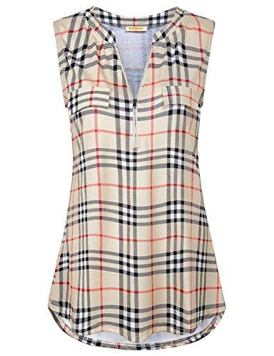 Baikea Women's Beige Plaid Tank Top Casual Zip V Neck Sleeveless Blouse Tunic - Sleeveless Dress Plaid