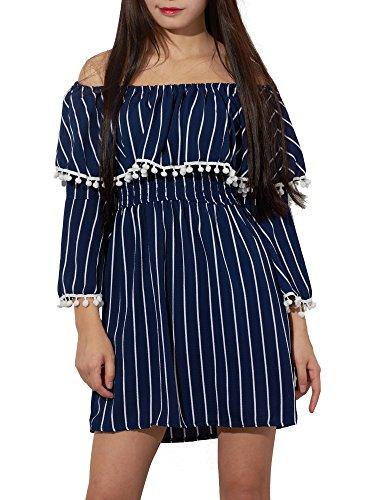 Yidarton Vestido De Verano De Fuera Del Hombro Raya Ocasinal Para Mujer Azul