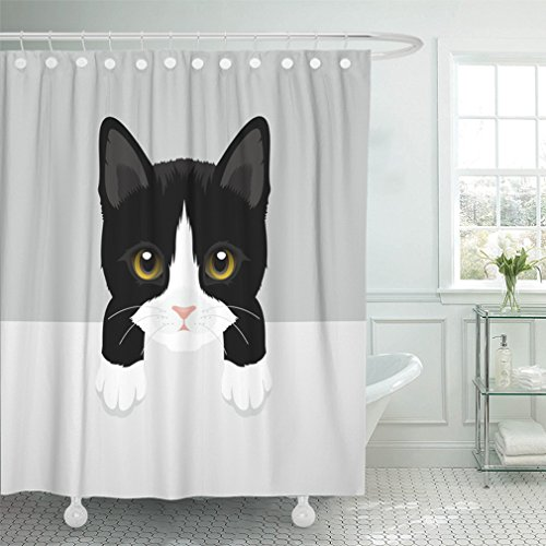 er Curtain Waterproof Black Animal Cat Tuxedo Kitty White Baby Beautiful Bow Character Cute Domestic Funny Home Decor Polyester Fabric Adjustable Hook ()