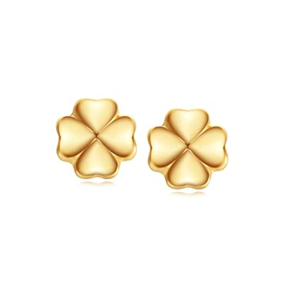 40e710c29 Image Unavailable. Image not available for. Color: Carleen 18K Solid Yellow  Gold Small Clover Stud Earrings ...