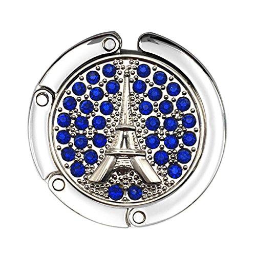Reizteko Purse Hook,French Eiffel Tower Rhinestone Foldable Handbag Purse Hanger Hook Holder for Tables (Blue)