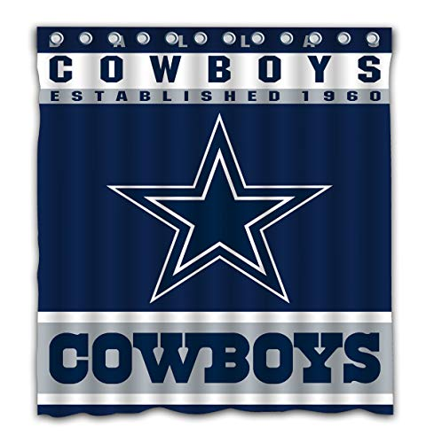 Potteroy Dallas Cowboys Team Design Shower Curtain Waterproof Mildew Proof Polyester Fabric 66x72 Inches (Dallas Fabric Cowboys)