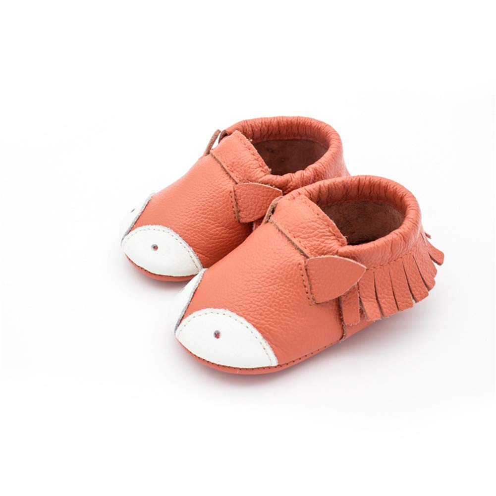 UWESPRING Baby Shoes Soft Leather Tassel Cartoon Pattern First Walker with Socks