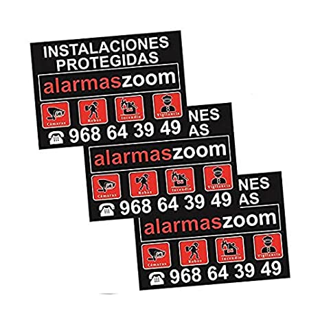 Pack 3 carteles rígidos instalaciones protegidas alarmaszoom ...