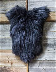 ESTRO | Kleur Originele IJSLANDSE schapenvacht Lamsvacht kleed | Langharige wol | Luxueus | Kleurvariëteit ESI (120 cm, Zwart)