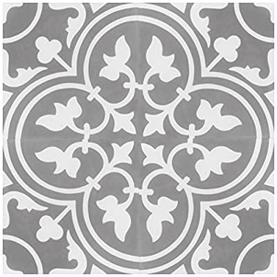 "Rustico Tile and Stone RTS15 Roseton D Cement Tile Pack of 13, 8"" x 8, Gray/White"
