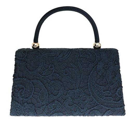 Handbag Satin Lace Designer Navy HandBags Fashion Womens Vintage Bag Handle Top Clutch Girly Wedding wvS0x5Zwn