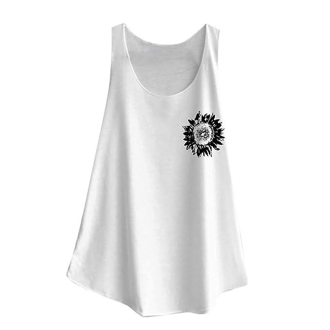 a17a6f4066787 Amazon.com: MOSERIAN Women's Top Print Vest Casual Loose Top ...
