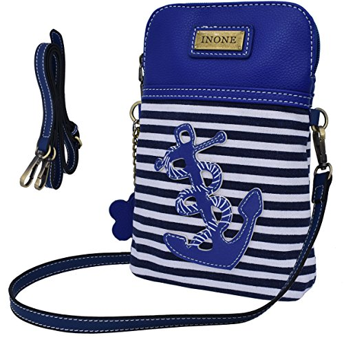 PU iPhone Keys Passport Credit Cell Crossbody Stripe Canvas Bag Phone Bag Anchor Card Anchor Smartphone for bold Leather Purse Handbag Nautical q84fCCw