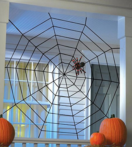 Black Spiderweb Halloween Large Big Spider Web-5Feet X 5 Feet by Tinuos (Spider Web Decorations)