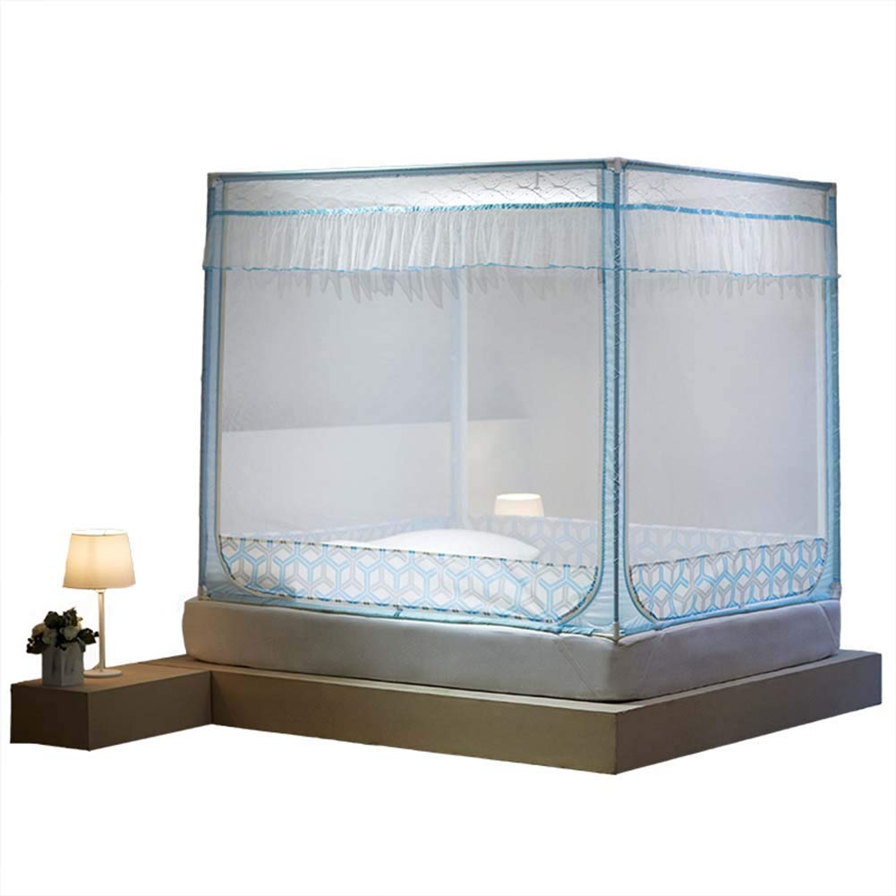 Thole Rectangular Fine Mesh Mosquito Net for Double Bed 3 Openings Insect Protection Repellent Including Hanging Kit,1.8M