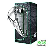 Quictent SGS Approved Eco-friendly 24''x24''x55'' Reflective Mylar Hydroponic Grow Tent with Obeservation Window and waterproof Floor Tray for Indoor Plant Growing 2'x2'