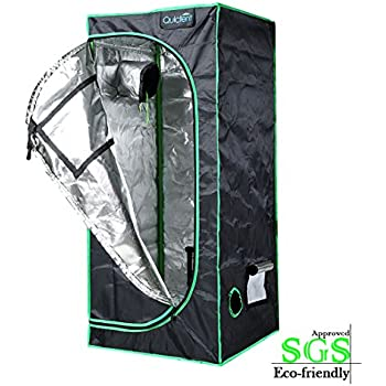 "Quictent SGS Approved Eco-friendly 24""x24""x55"" Reflective Mylar Hydroponic Grow Tent with Obeservation Window and waterproof Floor Tray for Indoor Plant Growing 2'x2'"