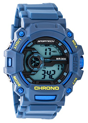 Children's Watches by Sportech - Blue Digital Water Resistant Sport Watch - Make Every Second Count - SP12203