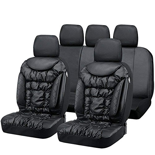 Big Ant Seat Covers, Breathable Comfortable Car Seat Covers Leatherette Waterproof Full Set Front Back Cover with 5 Detachable Headrests - Fit Most Car, Truck, SUV, or Van (Black)