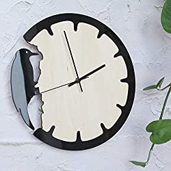 WFUBY Wall Clock an Retro Woodpecker Home Wall Clock Modern de Kitchen Restaurant Quartz Clock Round Clock 37inch
