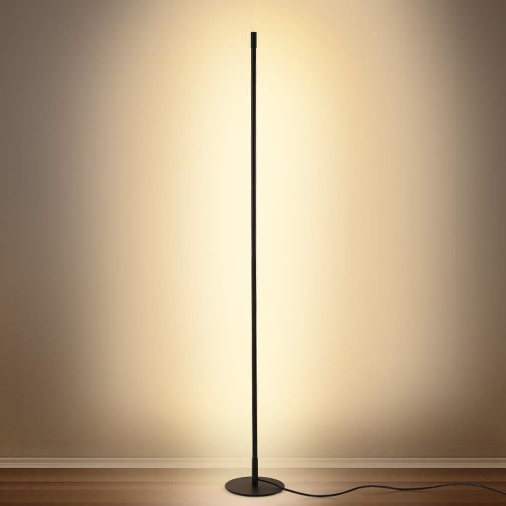 XMYX Lampada da Terra a LED Dimmerabile Moderna Lampade da Terra con Telecomando Lampada a Stelo Minimalista Nera per Soggiorno Camera da Letto Lampada da Pavimento Ufficio,160cm