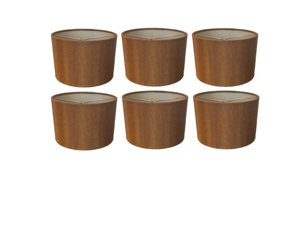 Upgradelights Bronze Silk 5.5 Inch Barrel with Nickel Clip Chandelier Shade 5.5x5.5x4 (Set of 6) by Upgradelights