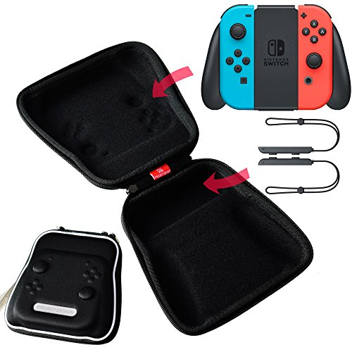 Mcbazel Joy-Con Grip Controller Airfoam Protective EVA Tough Storage Pouch Case Bag for Nintendo Switch Black