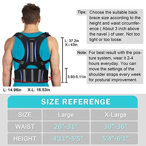 Back Brace Posture Corrector - Back Support Belt with Fully Adjustable Straps Relief Lower & Upper Back Pain, Improve Posture & Provides Lumbar Support - Fit for Men & Women L(30''-36''Waist)