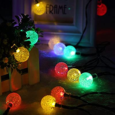 Carelove Outdoor Colorful Ball Solar String Lights, 8Mode 30 LED 21ft Decorative Christmas Fairy Globe Light for Indoor Party,Wedding Decoration,Patio,Garden,Holiday,Tree Decor