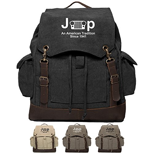 Jeep An American Tradition Canvas Rucksack Backpack with Leather Straps & Bottom