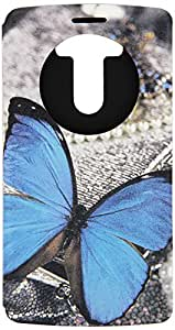 JUJEO Butterfly Perfume Smell Window View Smart Leather Cover with Stand for LG G3 D850, D855, LS990 - Non-Retail Packaging - Blue