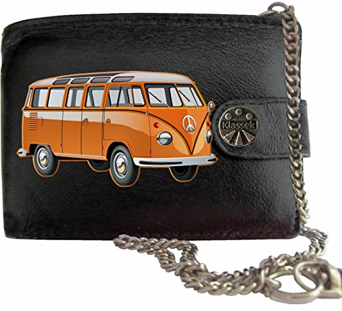 Orange T1 VW Camper Klassek Herren Geldbörse Geldbeutel Portemonnaie mit Kette Volkswagon Wohnmobil Zubehör