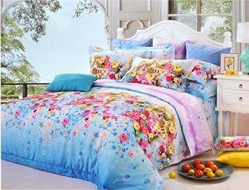 Gut gemocht Erwachsene Bettwäsche Sommer rosa Blumen Halb Set Doppel Bettbezug BK02