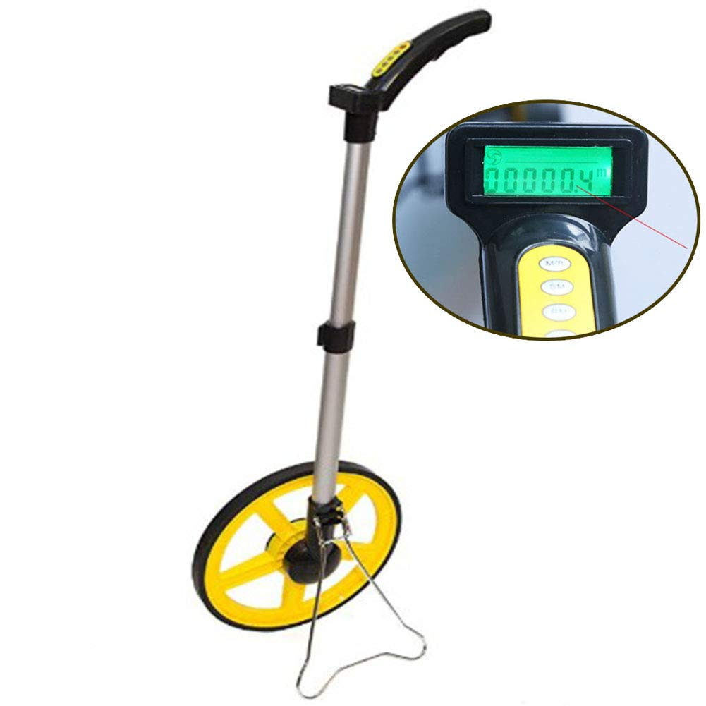 Measuring Wheel Collapsible Digital Distance Measuring Wheel, Walking Wheel Tape with Two Adjustable Sections, Digital Hand Push Measurement Tool