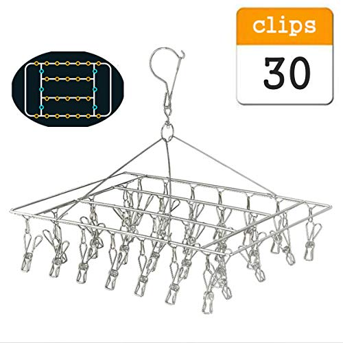 whatUneed Laundry Clothesline Hanging Rack,Stainless Steel Drying Clothes Hanger ,Multiple Function Windproof Pegs Hook for Drying/Socks/Underwear/Clothes/Towels (30 Pack)
