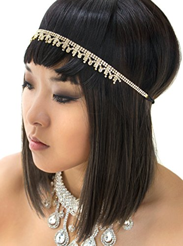 [Gold Grecian Goddess Vintage Rhinestone Crystal Headband, Wedding Accessories, Bridal Headpiece] (Holiday Recital Costumes)