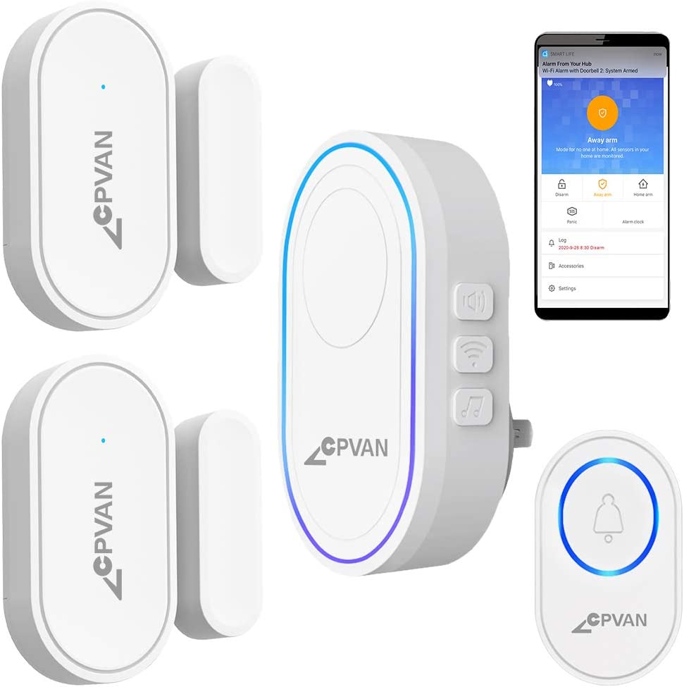 CPVAN Door Chime, WiFi Door Window Alarm, DIY Home Security Protection, 1 Base Station, 2 Door Sensors, 1 Door Chime Button, Mute/Chime/Alarm, for Home Kids/Elderly Safety/Garage, Works with Alexa.