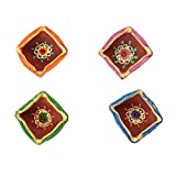 Set of 4 Handmade Decorative Diwali Clay Diyas For Diwali Decoration Square Shaped Terracotta Clay Oil Lamps