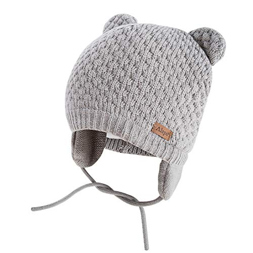 Winter Beanie Hat for Baby Kids Toddler Infant Newborn, Earflap Cute Warm Fleece Lind Knit Cap for Boys Girls (Gray)