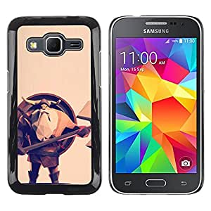 Shell-Star Arte & diseño plástico duro Fundas Cover Cubre Hard Case Cover para Samsung Galaxy Core Prime / SM-G360 ( Viking Shield Axe Helmet Beard Long Man )