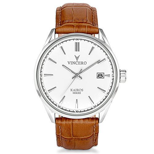 Vincero Luxury Men's Kairos Wrist Watch - Top Grain Italian Leather Watch Band - 42mm Analog Watch - Japanese...