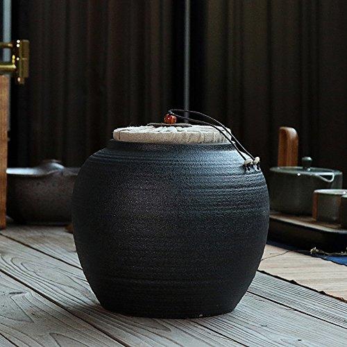 GreenSun(TM) Black Pottery Tea Cans Ceramic Sealed Tea Jar Vintage Portable Teasets Japanese Style Pu Er Tea Storage Containers