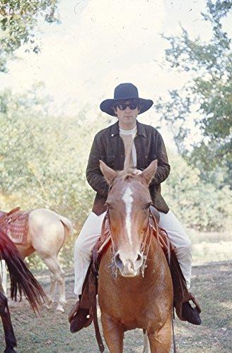 John Lennon Rides Horse at Pigman Ranch Missouri Original 35mm Film Slide (Missouri Slide)