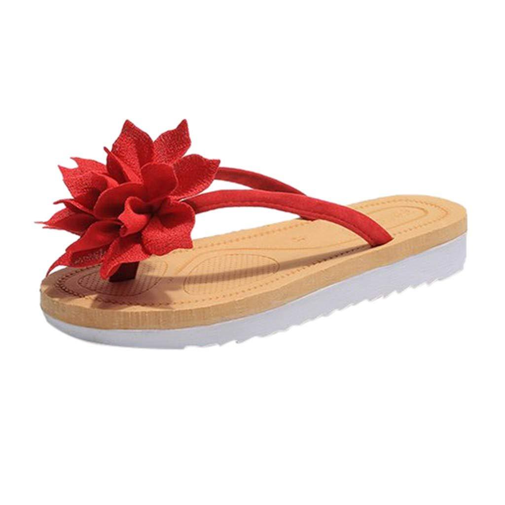 24d93d3ce Amazon.com  Dasuy Women s Clip Toe Flip Flops Wide Width Slipper Women  Flower Flats Sandals Pumps Bohemian Beach Prime Thong Shoes  Clothing