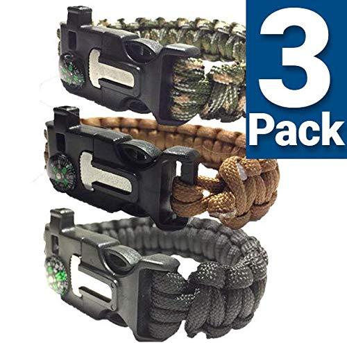 SURVIVAL BRACELETS S/M/L (PARACORD 550/ 3 PACK) With