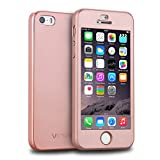 iphone 5 case split - iPhone 5S Case, iPhone 5 Case, iPhone SE Case, VANSIN 360 Full Body Protection Hard Slim Case with Tempered Glass Screen Protector for Apple iPhone 5 5S SE (4.0-inch) - Rose Gold
